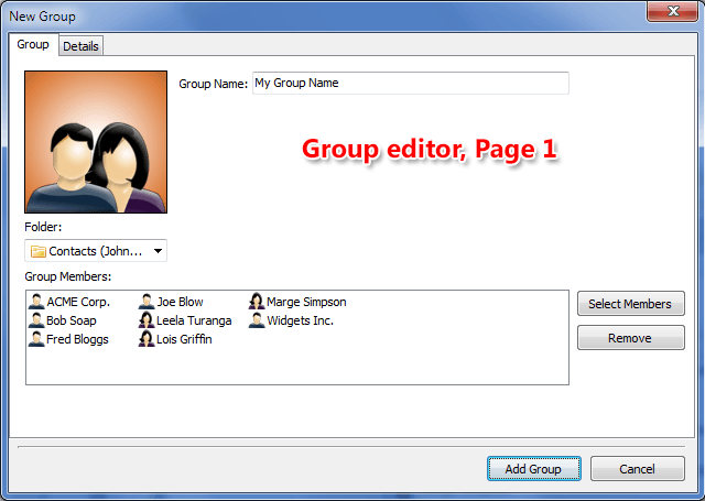 Page 1 of Group contact editor - Name and members editor