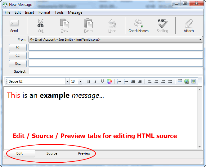 On the bottom of message editor you will find 3 tabs for switching between visual editor, source editor and preview