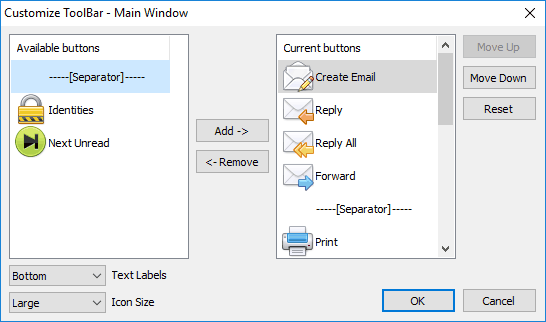 Each toolbar can now be customized
