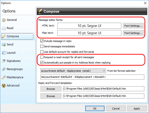 New Compose options - Font selection for HTML and plain-text messages (including font attributes like bold, color, etc.), requesting read receipt for all messages and automatically putting contacts into address book when replying