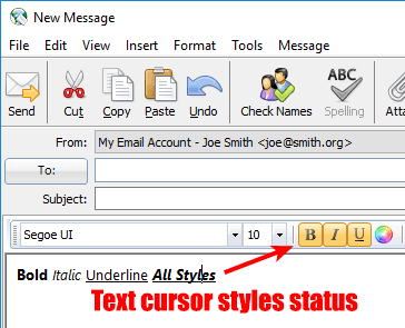 Formatting buttons such as Bold, Italic, Underline etc. in the message editor show status under the text cursor