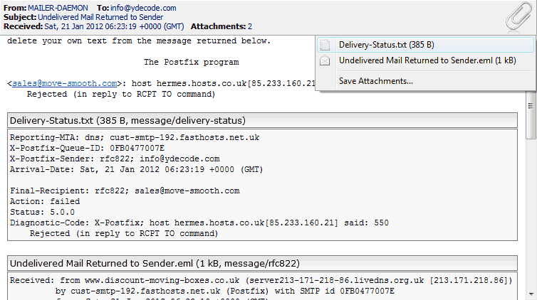 Message decoder can now recognize wider variety of message attachments. This example shows delivery status and RFC-822 (returned email) attachments in a failed delivery reply message.