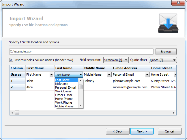 You can easily adjust what you want to import from CSV file using options. Options are also automatically detected.