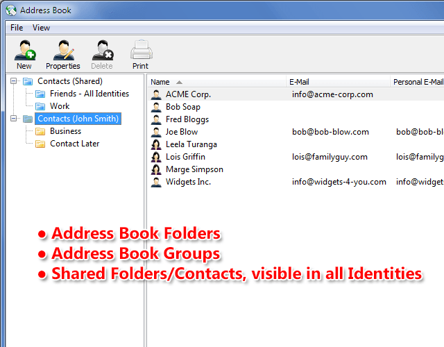 New features include Address Book Folders and Groups and Shared Folders/Contacts which are visible across all Identities