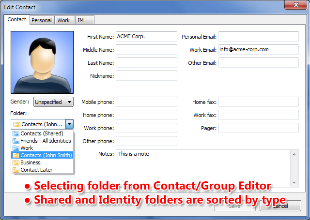 Folder selection is now possible from the contact editor without the need to open Address Book