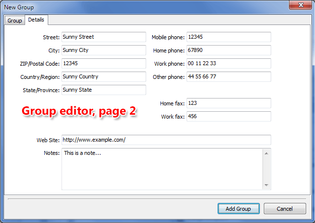 Page 2 of Group contact editor - Group details