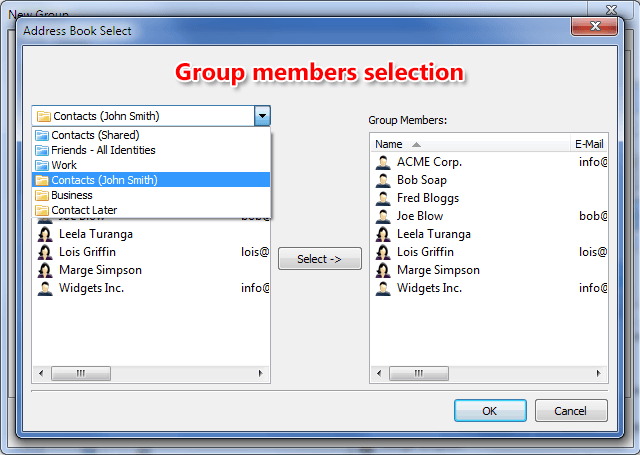 Group contact members selection