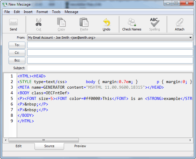 Source editor shows HTML code and uses syntax highlighting
