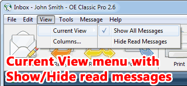 Current View menu offers to hide read messages