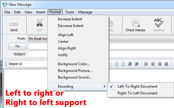Left to right and right to left document types are supported