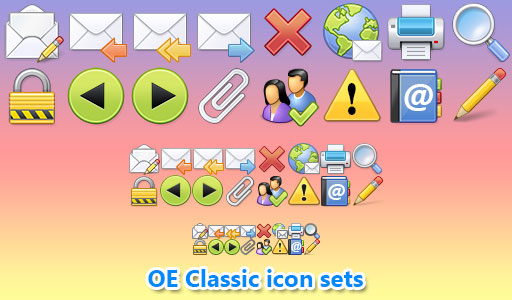 OE Classic has brand new icon set - the icons are optimized for pixel-perfect display and are crisp-clear even in smallest sizes such as 16x16