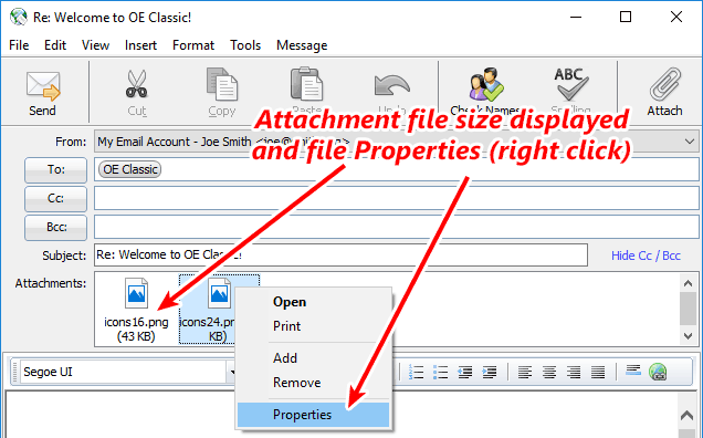 More information about attachments - file size and properties