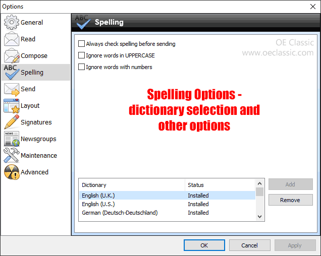 Spelling options and dictionary selection.