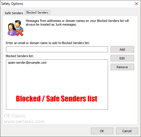 Blocked senders and Safe senders list editor.