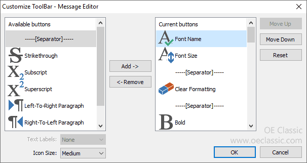 Customization of the Message Editor toolbar.